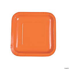 "7"" Pumpkin Orange Square Paper Dessert Plates - 18 Ct."