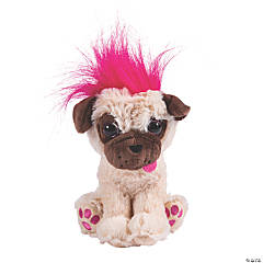 "7"" Small Stuffed Pug with Crazy Hair - 1 ct."