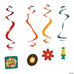 70s Party Hanging Swirl Decorations - 12 Pc.