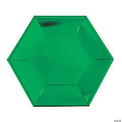 "8 1/2"" Metallic Green Hexagon Paper Dinner Plates - 24 Ct."