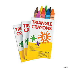 8-Color Triangular Crayons - 12 Boxes