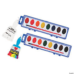 8-Color Watercolor Paint Trays with Valentine's Day Card