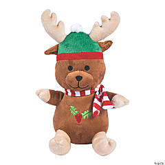 "8"" Winter Stuffed Bear with Reindeer Antlers"