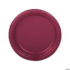 "9"" Burgundy Plastic Dinner Plates - 20 Ct."