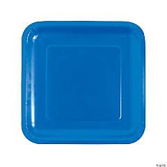 "9"" Cobalt Blue Square Paper Dinner Plates - 18 Ct."