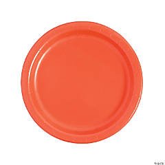"""9"""" Coral Paper Dinner Plates - 24 Ct."""