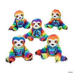 "9"" Flipping Sequin Crane Machine Jackpot Stuffed Sloths"
