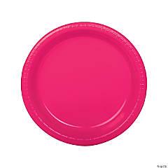 "9"" Hot Pink Plastic Dinner Plates - 20 Ct."