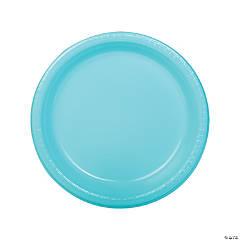 "9"" Light Blue Plastic Dinner Plates - 20 Ct."