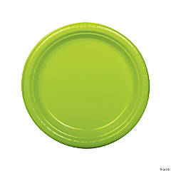 "9"" Lime Green Plastic Dinner Plates - 20 Ct."