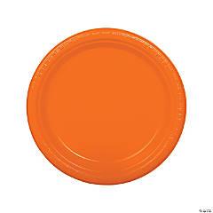 """9"""" Orange Plastic Dinner Plates - 20 Ct."""