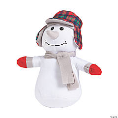 "9"" Plush Snowman with Ear Flap Hat"