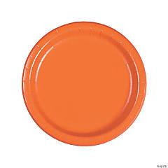 """9"""" Pumpkin Orange Paper Dinner Plates - 24 Ct."""