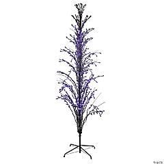 9' Purple LED Lighted Cascade Twig Outdoor Halloween Tree