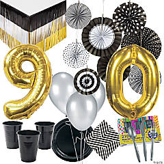90th Birthday Party Tableware Kit for 12 Guests