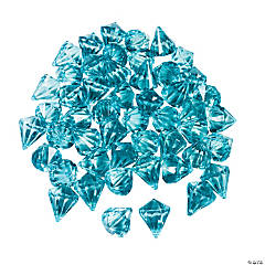 Acrylic Diamond-Shaped Light Blue Gems