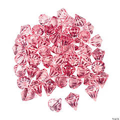 Acrylic Diamond-Shaped Pink Gems