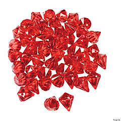 Acrylic Diamond-Shaped Red Gems