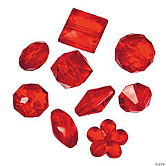 Acrylic Red Bead Assortment - 12mm - 15mm