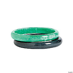 Acrylic Teal & Black Bangle Bracelets
