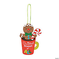 Adhesive Foam Gingerbread Cookie In Cocoa Mug Ornament Craft Kit