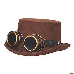 Adult Faux Suede Hat with Goggles