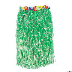 Adult Flowered Hula Skirts - Green