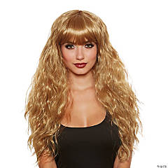 Adult Long Relaxed Beach Wave with Bangs Wig