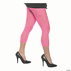 Adult Neon Pink Lace Leggings - Large