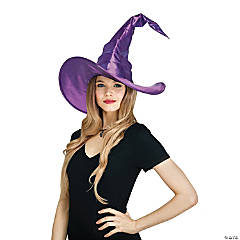 Adult Purple Curved Cone Witch Hat