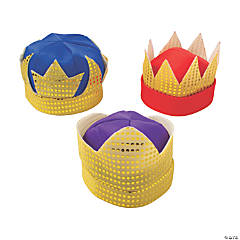 Adult's Deluxe Kings' Crowns with Sequins