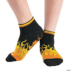 Adult's Flames Ankle Gripper Socks