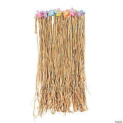 Adult's Natural Raffia Flowered Hula Skirts