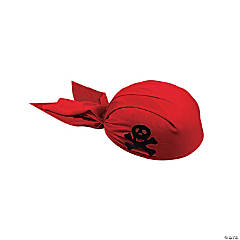 Adult's Polyester-Covered Felt Red Pirate Scarf Hats