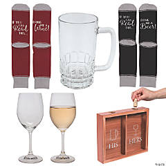 Adult's Wine for Her, Beer for Him At-Home Party Kit