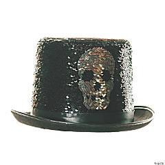 Adult Silver Reversible Sequin Skull Top Hat