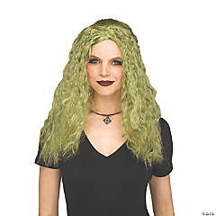 Adults Crimped Sorceress Wig - Green