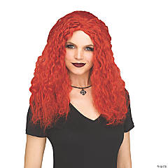 Adults Crimped Sorceress Wig - Red