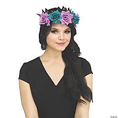 Adults Fantasy Fairy Floral Crown - Black and Purple
