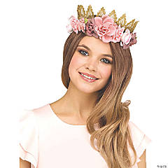 Adults Fantasy Fairy Floral Crown - Rose and Gold