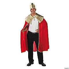 Adults' Red Wise Man's Cape with Crown