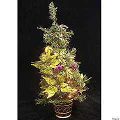 Allstate - 2.5' Pre-Lit Potted Lime Green Poinsettia Pine Slim Artificial Christmas Tree - Clear Lights