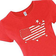 American Flag Patriotic Women's T-Shirt - Large