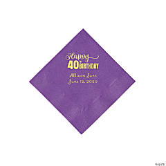 Amethyst 40th Birthday Personalized Napkins with Gold Foil - Beverage