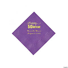 Amethyst 50th Birthday Personalized Napkins with Gold Foil - Beverage