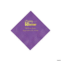 Amethyst 60th Birthday Personalized Napkins with Gold Foil - Beverage