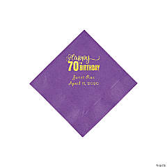 Amethyst 70th Birthday Personalized Napkins with Gold Foil - Beverage