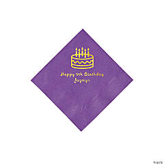 Amethyst Birthday Cake Personalized Napkins with Gold Foil - Beverage