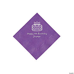 Amethyst Birthday Cake Personalized Napkins with Silver Foil - Beverage
