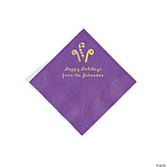 Amethyst Candy Cane Personalized Napkins with Gold Foil – Beverage